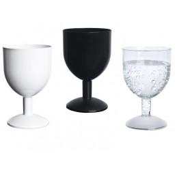 Verre jetable Oeno de 12cl, disponible en coloris noir, cristal et blanc