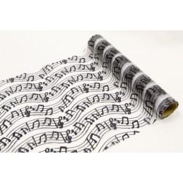 """Chemin de table organza """"musique"""" blanc"""