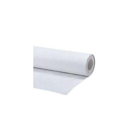 Lot de 3 rouleaux de nappe papier damassée blanc de 1,20x5 mètres