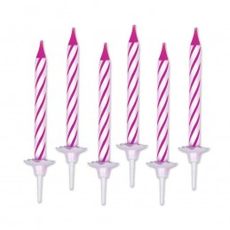 Bougie anniversaire rose par 12