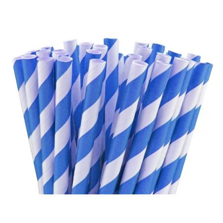 Paille en papier bleu 200mmx6mm par 100