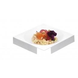 Coupelle carrée de 105mm en plastique injecté de coloris blanche