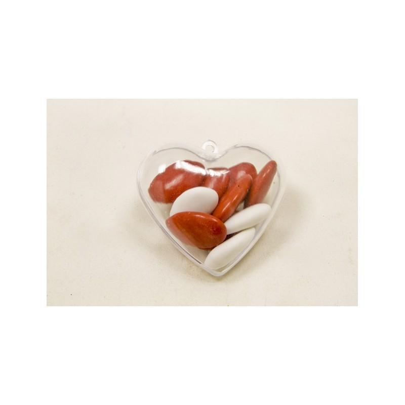 Contenat à dragée en forme de coeur par 6