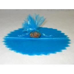 Rond en organza feston en pointe turquoise