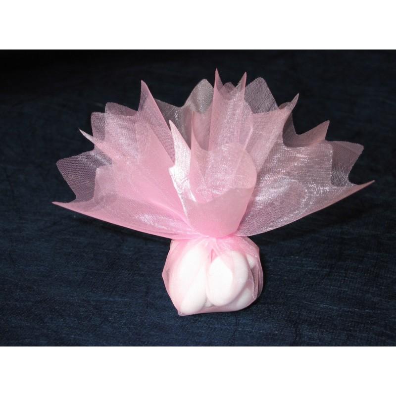 Rond en organza feston en pointe rose