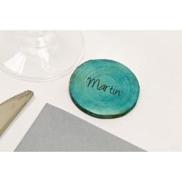 Disque en bois de décoration turquoise
