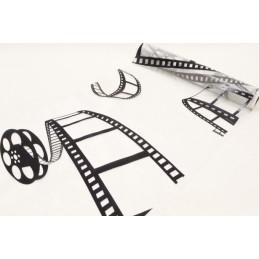 """Chemin de table organza """"cinéma"""" blanc"""