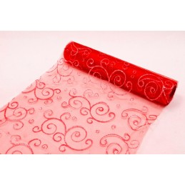 Chemin de table organza Arabesque Rouge 0,30x5m