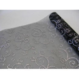 Chemin de table organza Arabesque Argent 0,30x5m