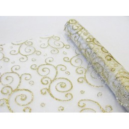 Chemin de table organza Arabesque Or 0,30x5m