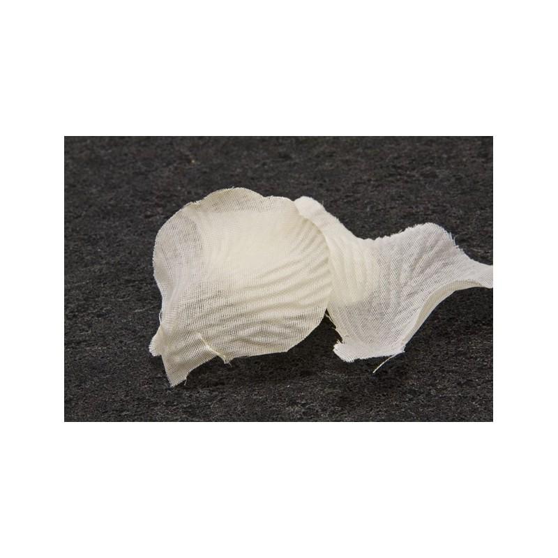 100 pétales de fleurs en tissu ivoire
