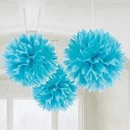 Boules en papier Pompons 40cm, 30cm et 20cm