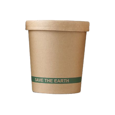 Pot à soupe en carton 450ml avec couvercle par 25
